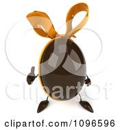 Clipart 3d Chocolate Egg With A Bow Giving A Thumb Up Royalty Free CGI Illustration