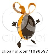 Clipart 3d Chocolate Egg With A Bow Jumping Royalty Free CGI Illustration