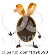 Clipart 3d Chocolate Egg With A Bow Presenting Royalty Free CGI Illustration