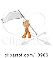 Orange Man Claiming Territory Or Capturing The Flag Clipart Illustration by Leo Blanchette
