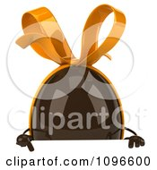 Clipart 3d Chocolate Egg With A Bow Over A Sign Royalty Free CGI Illustration