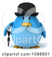 Clipart 3d Chubby Blue Bird In A Bowler Hat Royalty Free CGI Illustration by Julos