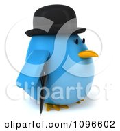 Clipart 3d Chubby Blue Bird In A Bowler Hat Facing Right Royalty Free CGI Illustration