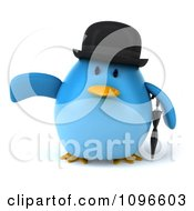 Clipart 3d Chubby Blue Bird In A Bowler Hat Pointing Left Royalty Free CGI Illustration