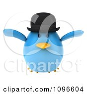 Clipart 3d Chubby Blue Bird In A Bowler Hat Flying Royalty Free CGI Illustration