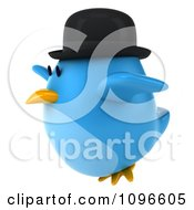 Clipart 3d Chubby Blue Bird In A Bowler Hat Flying Left Royalty Free CGI Illustration