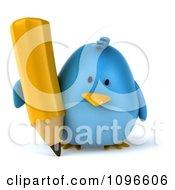 Clipart 3d Chubby Blue Bird With A Pencil 1 Royalty Free CGI Illustration