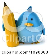 Clipart 3d Chubby Blue Bird With A Pencil 3 Royalty Free CGI Illustration