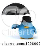 Clipart 3d Chubby Blue Bird In A Bowler Hat Holding An Umbrella Royalty Free CGI Illustration