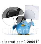 Clipart 3d Chubby Blue Bird In A Bowler Hat Holding An Umbrella And Sign Royalty Free CGI Illustration