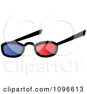 Pair Of 3d Movie Eye Glasses With Blue And Red Lenses