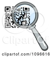 Clipart Magnifying Glass Over A Qr Code Royalty Free Vector Illustration