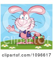 Clipart Happy Waving Pink Easter Bunny Carrying A Basket Of Eggs Outside Royalty Free Vector Illustration