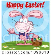 Clipart Pink Happy Easter Bunny Carrying A Basket Of Eggs Royalty Free Vector Illustration
