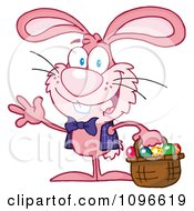 Clipart Happy Waving Pink Easter Bunny Carrying A Basket Of Eggs Royalty Free Vector Illustration