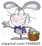 Clipart Happy Waving Gray Easter Bunny Carrying A Basket Of Eggs Royalty Free Vector Illustration