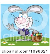 Clipart Happy Waving Gray Easter Bunny Carrying A Basket Of Eggs Outside Royalty Free Vector Illustration