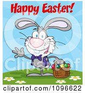 Clipart Gray Happy Easter Bunny Carrying A Basket Of Eggs Royalty Free Vector Illustration