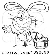 Clipart Outlined Happy Waving Easter Bunny Carrying A Basket Of Eggs Royalty Free Vector Illustration