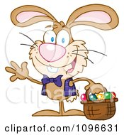 Clipart Happy Waving Easter Bunny Carrying A Basket Of Eggs Royalty Free Vector Illustration