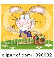 Clipart Happy Waving Brown Easter Bunny Carrying A Basket Of Eggs Royalty Free Vector Illustration