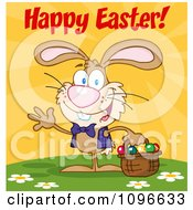 Clipart Happy Easter Bunny Carrying A Basket Of Eggs Royalty Free Vector Illustration