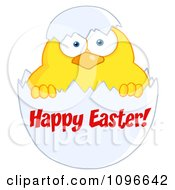 Clipart Happy Easter Chick In A Shell Royalty Free Vector Illustration
