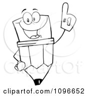 Clipart Outlined Happy School Pencil Wearing A Number One Foam Glove Royalty Free Vector Illustration by Hit Toon