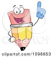 Happy School Pencil Wearing A Number One Foam Glove by Hit Toon