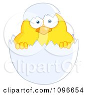 Clipart Yellow Easter Chick In A Shell Royalty Free Vector Illustration by Hit Toon