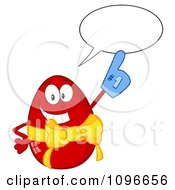 Clipart Happy Talking Red Easter Egg Wearing A Number One Glove Royalty Free Vector Illustration