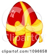 Clipart Shiny Red Easter Egg With A Yellow Ribbon And Bow Royalty Free Vector Illustration