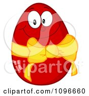 Clipart Happy Red Easter Egg With A Yellow Ribbon And Bow Royalty Free Vector Illustration by Hit Toon