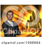 Clipart Corporate Businessman With Folded Arms Against A Golden City Royalty Free Vector Illustration