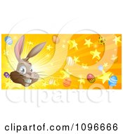Clipart Brown Easter Bunny With Stars Eggs And Rays Royalty Free Vector Illustration