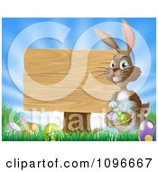 Brown Easter Bunny With Eggs And A Wooden Sign