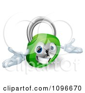 Clipart 3d Friendly Padlock With Open Arms Royalty Free Vector Illustration