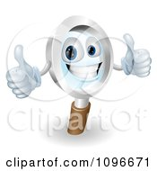 Clipart 3d Friendly Magnifying Glass Mascot Holding Two Thumbs Up Royalty Free Vector Illustration