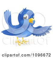Clipart Friendly Bluebird Presenting Or Pointing With A Wing Royalty Free Vector Illustration by AtStockIllustration