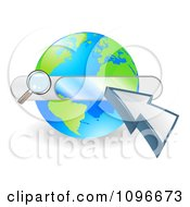 Clipart Search Box And Arrow Cursor Over A Globe Royalty Free Vector Illustration
