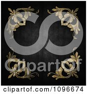 Clipart Dark Grungy Metal Background With Golden Floral Corners Royalty Free Illustration