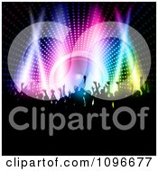 Clipart Silhouetted Party People Dancing Over A Colorful Lights And A Speaker Royalty Free Vector Illustration
