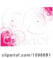 Pink Grunge Circle And Floral Background