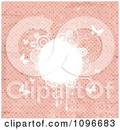 Clipart Grungy Pink Polka Dot Background With White Floral Grunge And Butterflies Royalty Free Vector Illustration