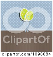 Clipart Retro Easter Egg Background With Blue Polka Dots And Brown Stripes Royalty Free Vector Illustration