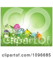 Clipart Green Easter Background With Butterflies Resting On Eggs In The Grass Royalty Free Vector Illustration