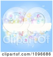Clipart Blue Background With A White Grunge Text Bar Flares And Flowers Royalty Free Vector Illustration