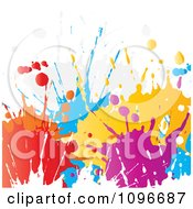 Clipart Background Of Colorful Paint Splatters On White Royalty Free Vector Illustration