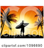 Silhouetted Male Surfer Dude Against An Orange Sunset With Palm Trees