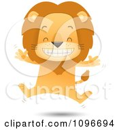 Clipart Happy Lion Jumping Royalty Free Vector Illustration